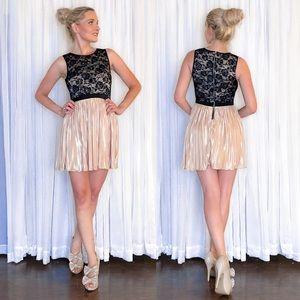 Champagne Lace Mini Cocktail Party Dress